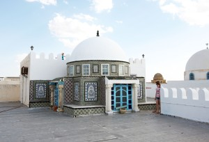 Tunesien tæppehandleres kuppel ude